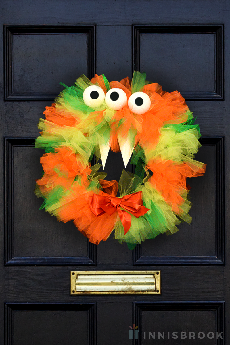 Tulle Ribbon Halloween Monster Wreath - Innisbrook Wraps