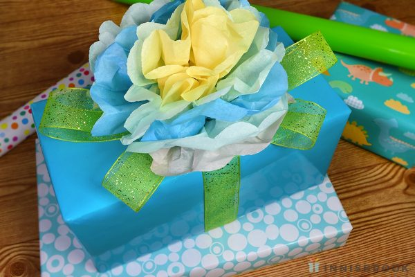 Tissue Paper Flower with Ribbon Leaves