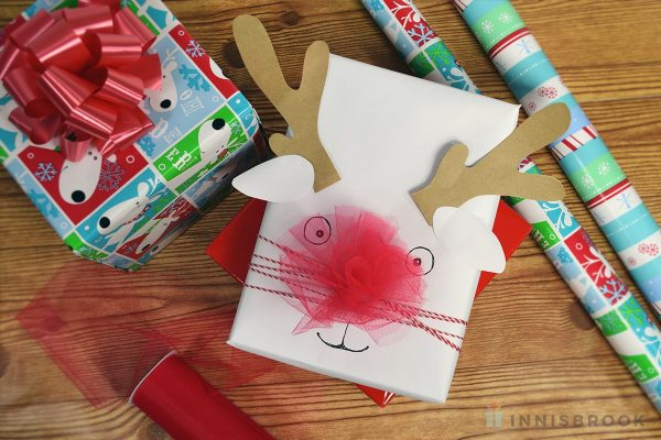 Use Tulle Ribbon to create a shining Rudolph the Red Nosed Reindeer